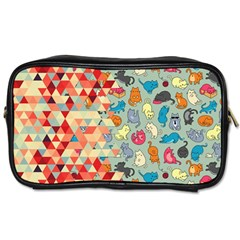 Hipster Triangles And Funny Cats Cut Pattern Toiletries Bags by EDDArt