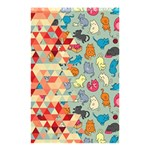 Hipster Triangles And Funny Cats Cut Pattern Shower Curtain 48  x 72  (Small)  42.18 x64.8 Curtain