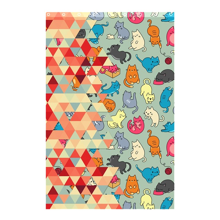 Hipster Triangles And Funny Cats Cut Pattern Shower Curtain 48  x 72  (Small)