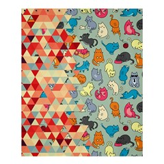 Hipster Triangles And Funny Cats Cut Pattern Shower Curtain 60  X 72  (medium)  by EDDArt
