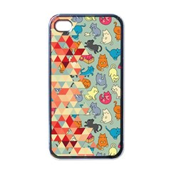 Hipster Triangles And Funny Cats Cut Pattern Apple Iphone 4 Case (black) by EDDArt