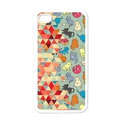 Hipster Triangles And Funny Cats Cut Pattern Apple Iphone 4 Case (white) by EDDArt