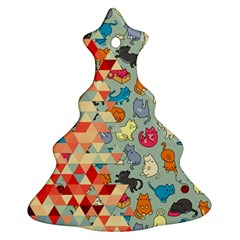 Hipster Triangles And Funny Cats Cut Pattern Christmas Tree Ornament (two Sides) by EDDArt