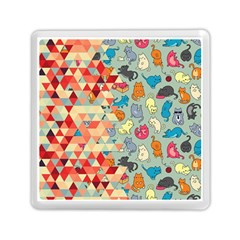 Hipster Triangles And Funny Cats Cut Pattern Memory Card Reader (square) by EDDArt