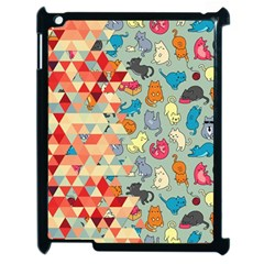 Hipster Triangles And Funny Cats Cut Pattern Apple Ipad 2 Case (black) by EDDArt