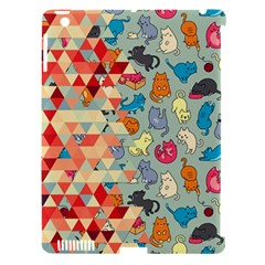 Hipster Triangles And Funny Cats Cut Pattern Apple Ipad 3/4 Hardshell Case (compatible With Smart Cover) by EDDArt