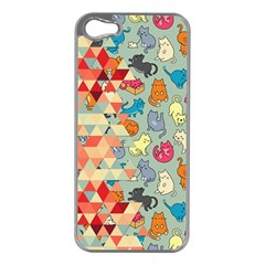 Hipster Triangles And Funny Cats Cut Pattern Apple Iphone 5 Case (silver) by EDDArt