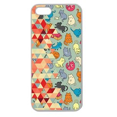Hipster Triangles And Funny Cats Cut Pattern Apple Seamless Iphone 5 Case (clear) by EDDArt