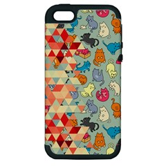 Hipster Triangles And Funny Cats Cut Pattern Apple Iphone 5 Hardshell Case (pc+silicone) by EDDArt