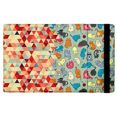 Hipster Triangles And Funny Cats Cut Pattern Apple Ipad 3/4 Flip Case by EDDArt