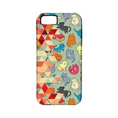 Hipster Triangles And Funny Cats Cut Pattern Apple Iphone 5 Classic Hardshell Case (pc+silicone) by EDDArt