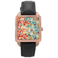 Hipster Triangles And Funny Cats Cut Pattern Rose Gold Leather Watch  by EDDArt