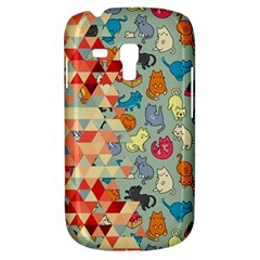 Hipster Triangles And Funny Cats Cut Pattern Samsung Galaxy S3 Mini I8190 Hardshell Case by EDDArt