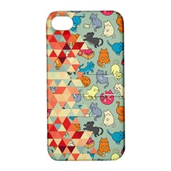 Hipster Triangles And Funny Cats Cut Pattern Apple Iphone 4/4s Hardshell Case With Stand by EDDArt