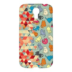 Hipster Triangles And Funny Cats Cut Pattern Samsung Galaxy S4 I9500/i9505 Hardshell Case by EDDArt