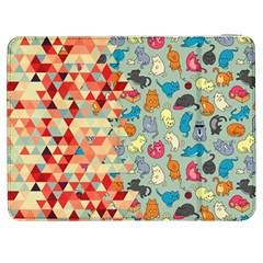 Hipster Triangles And Funny Cats Cut Pattern Samsung Galaxy Tab 7  P1000 Flip Case by EDDArt