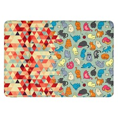 Hipster Triangles And Funny Cats Cut Pattern Samsung Galaxy Tab 8 9  P7300 Flip Case by EDDArt