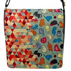 Hipster Triangles And Funny Cats Cut Pattern Flap Messenger Bag (s) by EDDArt