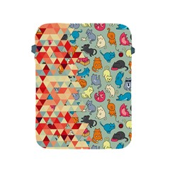 Hipster Triangles And Funny Cats Cut Pattern Apple Ipad 2/3/4 Protective Soft Cases by EDDArt