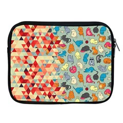 Hipster Triangles And Funny Cats Cut Pattern Apple Ipad 2/3/4 Zipper Cases by EDDArt
