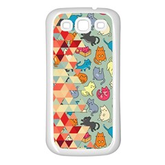 Hipster Triangles And Funny Cats Cut Pattern Samsung Galaxy S3 Back Case (white) by EDDArt