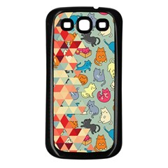 Hipster Triangles And Funny Cats Cut Pattern Samsung Galaxy S3 Back Case (black) by EDDArt