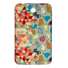 Hipster Triangles And Funny Cats Cut Pattern Samsung Galaxy Tab 3 (7 ) P3200 Hardshell Case  by EDDArt