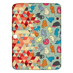 Hipster Triangles And Funny Cats Cut Pattern Samsung Galaxy Tab 3 (10 1 ) P5200 Hardshell Case  by EDDArt