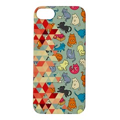 Hipster Triangles And Funny Cats Cut Pattern Apple Iphone 5s/ Se Hardshell Case by EDDArt