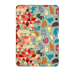 Hipster Triangles And Funny Cats Cut Pattern Samsung Galaxy Tab 2 (10 1 ) P5100 Hardshell Case  by EDDArt