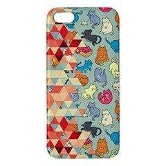 Hipster Triangles And Funny Cats Cut Pattern Iphone 5s/ Se Premium Hardshell Case by EDDArt