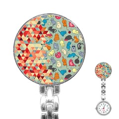 Hipster Triangles And Funny Cats Cut Pattern Stainless Steel Nurses Watch by EDDArt