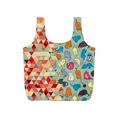 Hipster Triangles And Funny Cats Cut Pattern Full Print Recycle Bags (s)  by EDDArt