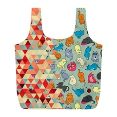 Hipster Triangles And Funny Cats Cut Pattern Full Print Recycle Bags (l)  by EDDArt