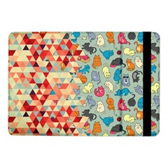 Hipster Triangles And Funny Cats Cut Pattern Samsung Galaxy Tab Pro 10 1  Flip Case by EDDArt