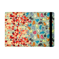 Hipster Triangles And Funny Cats Cut Pattern Ipad Mini 2 Flip Cases by EDDArt