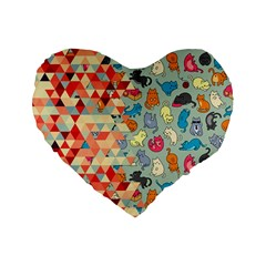 Hipster Triangles And Funny Cats Cut Pattern Standard 16  Premium Flano Heart Shape Cushions by EDDArt