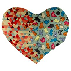 Hipster Triangles And Funny Cats Cut Pattern Large 19  Premium Flano Heart Shape Cushions by EDDArt