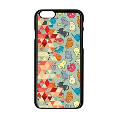Hipster Triangles And Funny Cats Cut Pattern Apple Iphone 6/6s Black Enamel Case by EDDArt