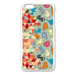 Hipster Triangles And Funny Cats Cut Pattern Apple Iphone 6 Plus/6s Plus Enamel White Case by EDDArt