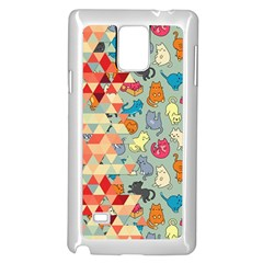 Hipster Triangles And Funny Cats Cut Pattern Samsung Galaxy Note 4 Case (white) by EDDArt
