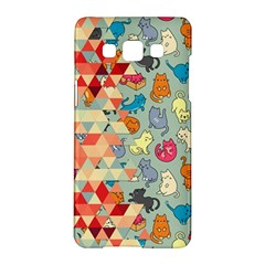 Hipster Triangles And Funny Cats Cut Pattern Samsung Galaxy A5 Hardshell Case  by EDDArt