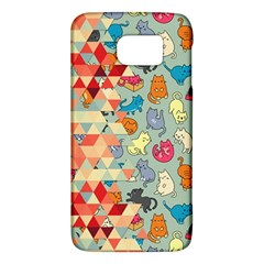 Hipster Triangles And Funny Cats Cut Pattern Samsung Galaxy S6 Hardshell Case  by EDDArt