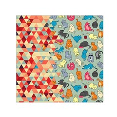 Hipster Triangles And Funny Cats Cut Pattern Small Satin Scarf (square) by EDDArt