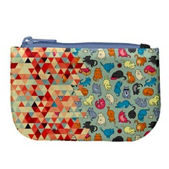 Hipster Triangles And Funny Cats Cut Pattern Large Coin Purse by EDDArt