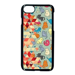 Hipster Triangles And Funny Cats Cut Pattern Apple Iphone 7 Seamless Case (black) by EDDArt