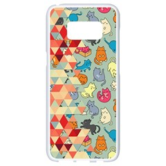 Hipster Triangles And Funny Cats Cut Pattern Samsung Galaxy S8 White Seamless Case by EDDArt
