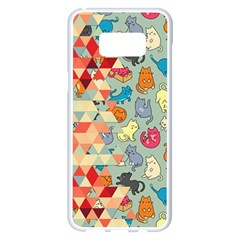 Hipster Triangles And Funny Cats Cut Pattern Samsung Galaxy S8 Plus White Seamless Case by EDDArt