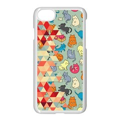 Hipster Triangles And Funny Cats Cut Pattern Apple Iphone 8 Seamless Case (white) by EDDArt