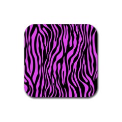 Zebra Stripes Pattern Trend Colors Black Pink Rubber Coaster (square)  by EDDArt